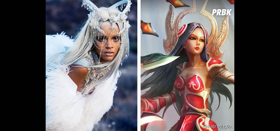 """Não que elas sejam sempre parecidas, mas nessa foto a Rihanna está a cara da Irelia de """"League Of Legends"""""""