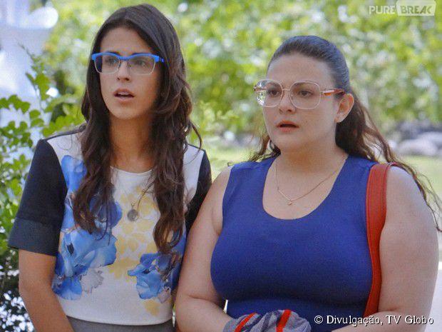 """Em """"Alto Astral"""", Bia (Raquel Fabbri) e Liz (Debora Rebecchi) ficam chocadas ao ver Israel (Kayky Brito)"""