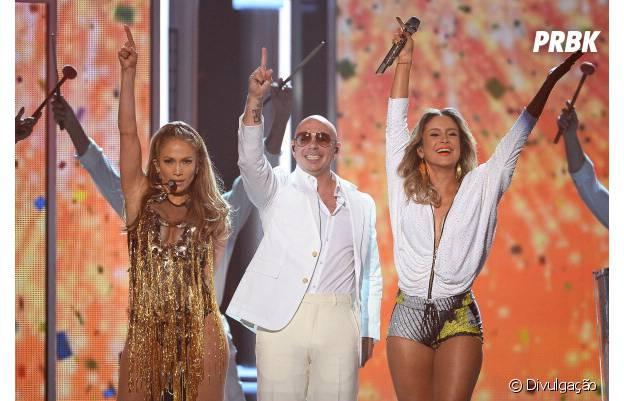 Jennifer Lopez, Pitbull e Claudia Leitte em apresentação no Billboard Music Awards
