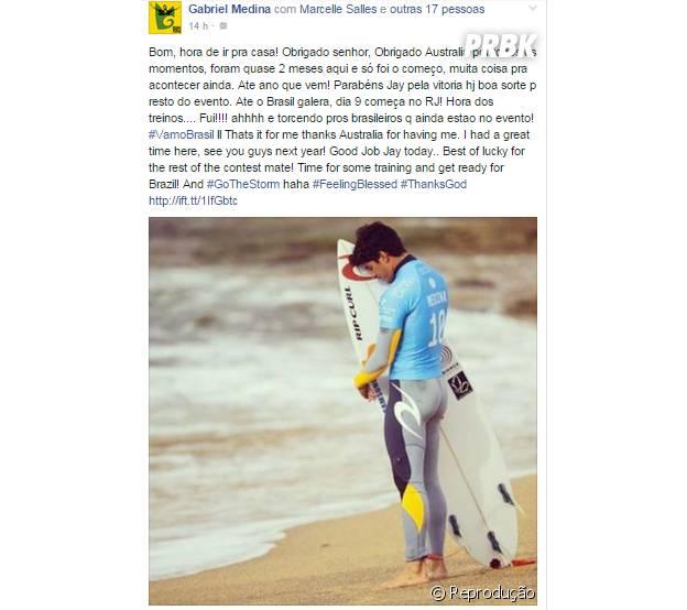 Gabriel Medina se despedindo do campeonato em seu Instagram
