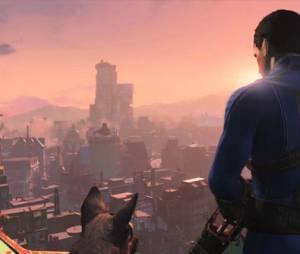 """Cena marcante do trailer de """"Fallout 4"""", onde o personagem principal aparece ao lado de um cachorro"""
