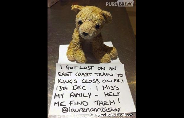 Ursinho perdido no trem foi encontrado graça a campanha nas redes