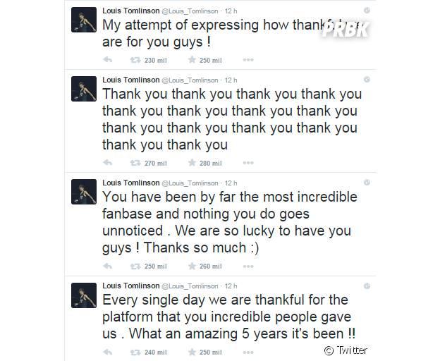 Nos 5 anos do One Direction, Louis Tomlinson, que será pai, agradece fãs