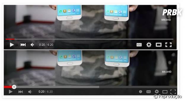 Antes e depois das mudanças que foram feitas no player do YouTube