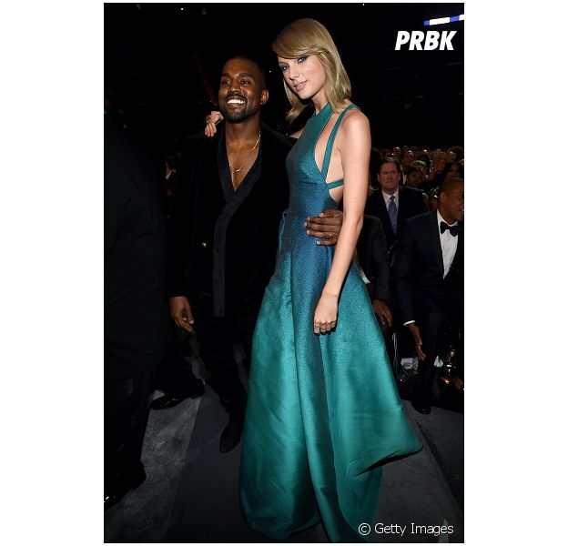 Taylor Swift e Kanye West no grammy 2015, quando fizeram as pazes