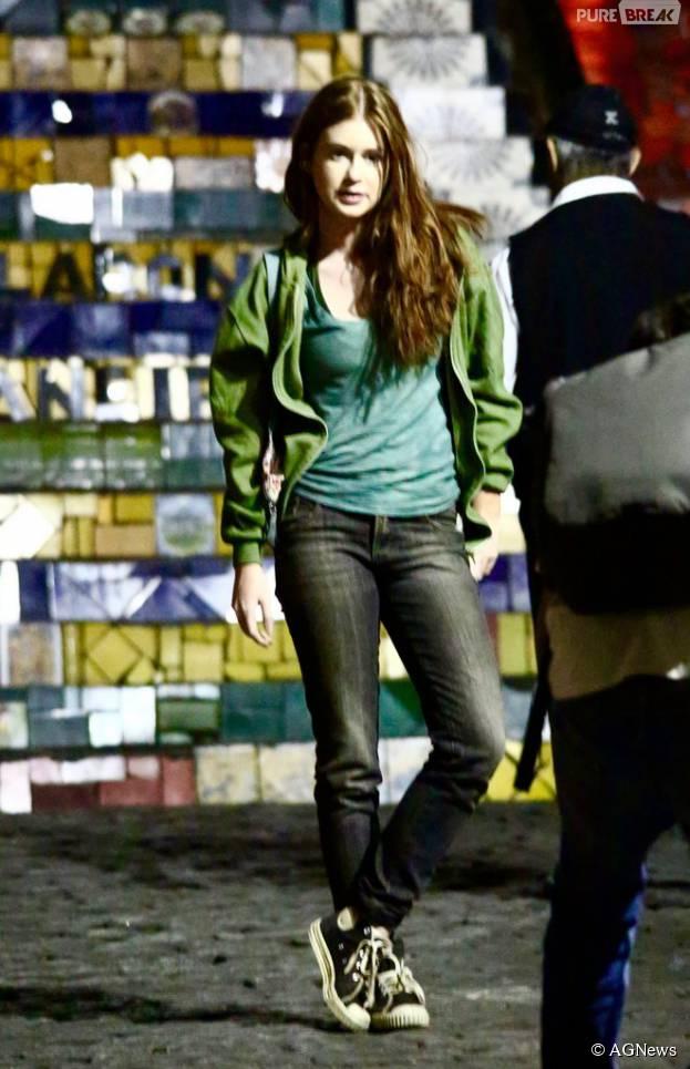 """Marina Ruy Barbosa filma """"Totalmente Demais"""" na escadaria da Lapa, no Rio de Janeiro"""