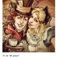 Alice aproveitando a tarde para tomar um chá com o Chapeleiro Maluco no País das Maravilhas