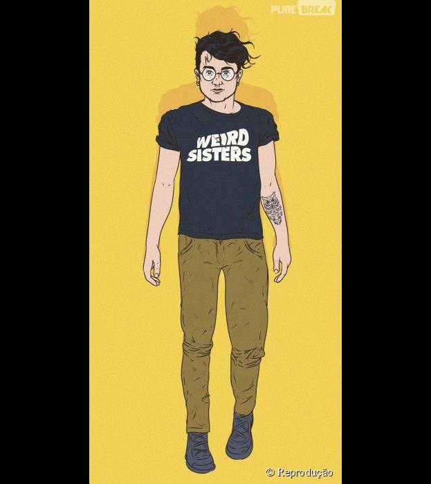 Potter está hipster com camiseta de banda, tattoos e óculos retrô