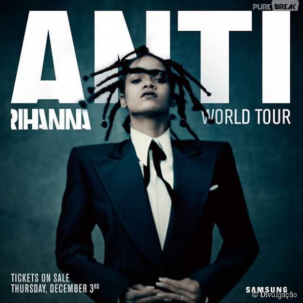 Rihanna aparece de visual novo e agora circula com o cabelo na cor azul!