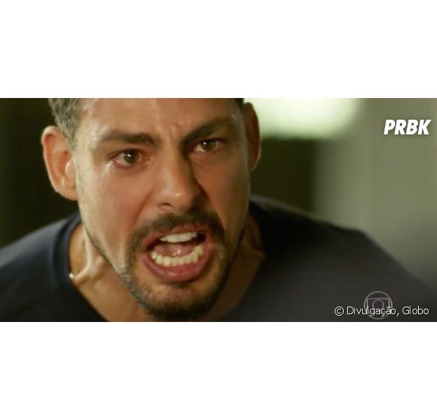 """Em """"A Regra do Jogo"""", Juliano (Cauã Reymond) descobre farsa na morte de Romero (Alexandre Nero) e bate no rival!"""