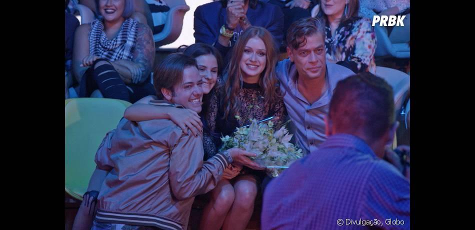 """Em """"Totalmente Demais"""", Eliza (Marina Ruy Barbosa) comemora título do concurso com Arthur (Fábio Assunção)"""