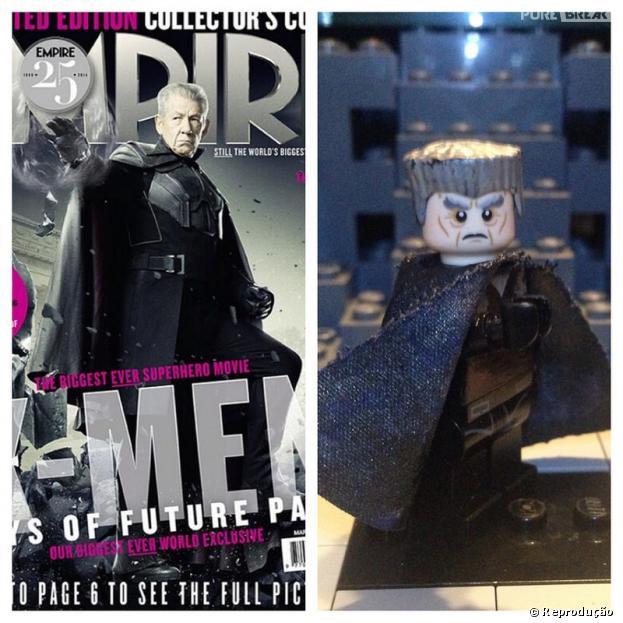 """Capa da """"Empire"""" com Magneto do """"X-Men"""" eao lado sua versão em Lego"""