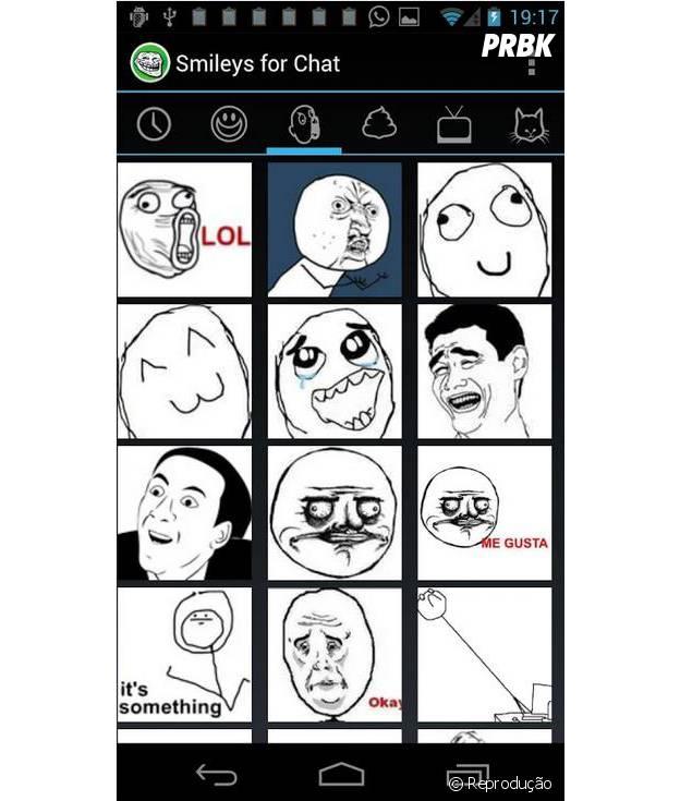 Smileys for chat é o app que além de mensageiro é também um criador de memes