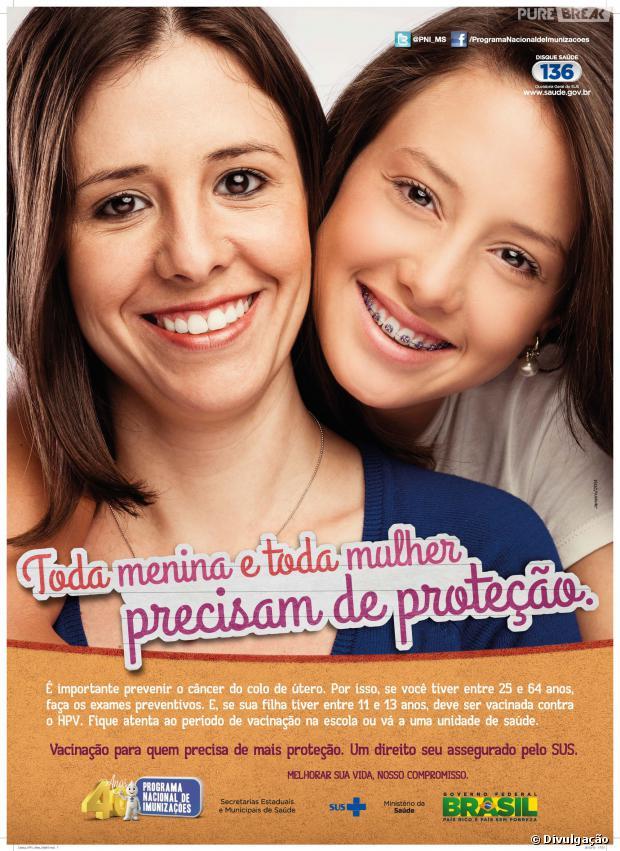 Campanha para jovens meninas do Governo brasileira para a campanha contra HPV