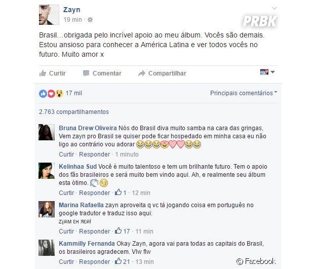 Zayn Malik deixa mensagem especial para fãs brasileiros no Facebook