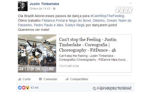 Justin Timberlake elogia passos de dança de Nego do Borel e outros artistas brasileiros.