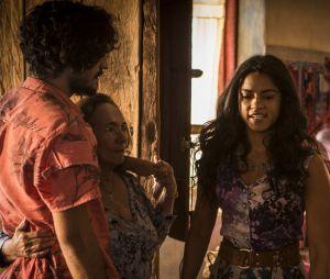 """Em """"Velho Chico"""", Luzia (Lucy Alves) acusa família de Miguel (Gabriel Leone) por """"assassinato"""" de Santo (Domingos Montagner)"""