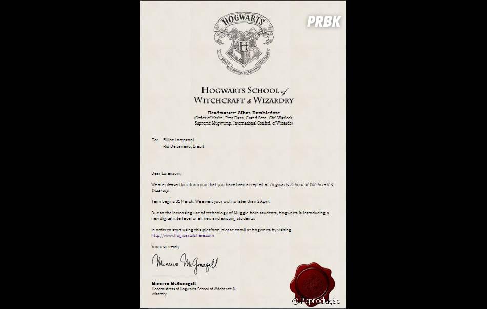 """Carta que o site """"Hogwarts is Here"""" envia ao concluir o cadastro"""