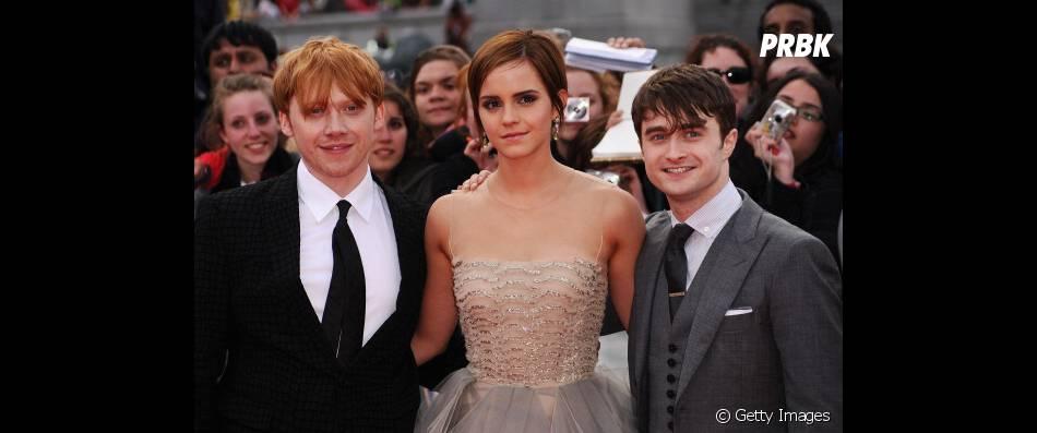 Rupert Grint (Rony), Emma Watson (Hermione) e Daniel Radcliffe (Harry Potter), atores que deram via ao trio mais querido de Hogwarts