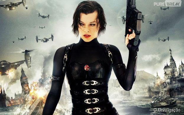 "Mila Jovovich vive a guerreira Alice, protagonista da franquia ""Resident Evil"""