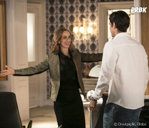 "Novela ""Haja Coração"": Vitoria (Betty Gofman), mãe de Felipe (Marcos Pitombo), rejeita Shirlei (Sabrina Petraglia)"
