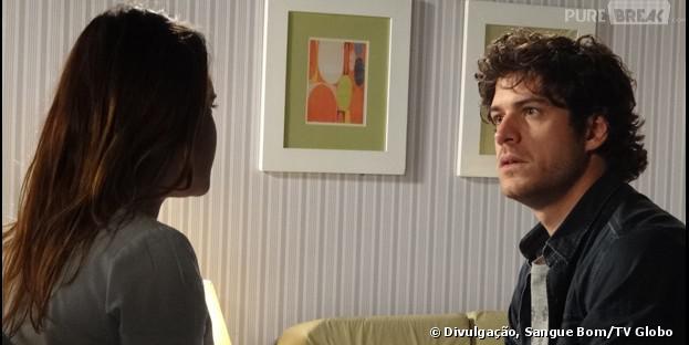 """Em """"Sangue Bom"""", Bento (Marco Pigossi) descobre que ainda tem sentimentos por Malu (Fernanda Vasconcellos)!"""