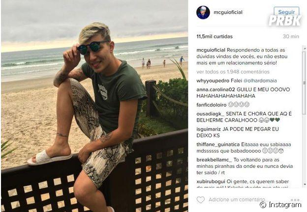 Mais tarde, MC Gui apaga legenda polêmica e deixa só a foto no Instagram