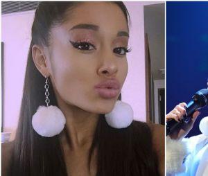 Ariana GrandeeMiley Cyrus usando brincos de pompom!