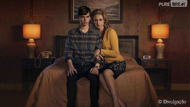 """Em """"Bates Motel"""", Freddie Highmore interpreta o personagem Noran Bates e Vera Farmiga a mãe do famoso assassino da ficção."""