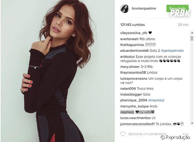 """Neymar Jr. comenta foto de Bruna Marquezine: """"Minha mulher"""""""