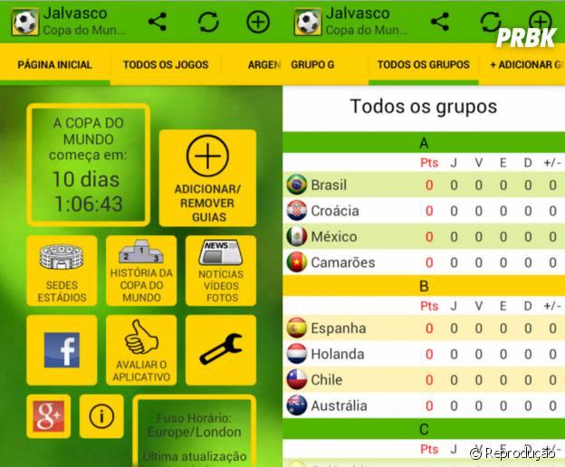 """No app """"Jalvasco Copa do Mundo 2014"""" você pode ver os resultados da copa mesmo sem internet"""