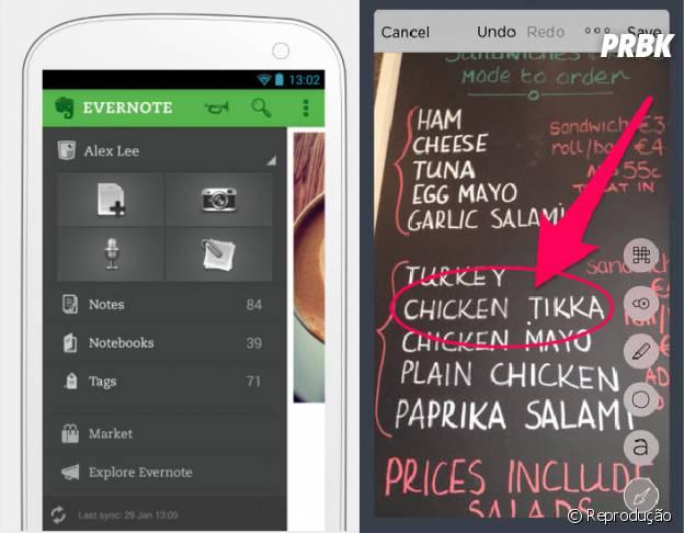 """Com a ajuda do app """"Evernote"""" você pode escrever notas e fotografar arquivos que são transferido automaticamente para o computador"""
