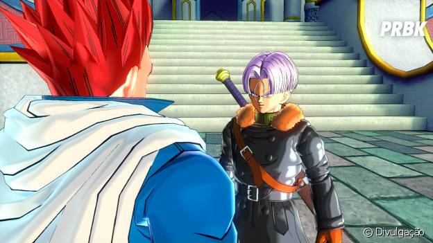 """Em """"Dragon Ball Xenoverse"""", o guerreiro do futuro está conversando com Trunks"""