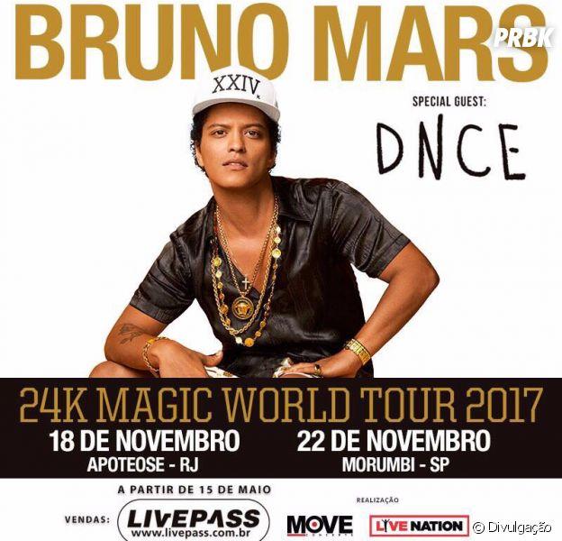 Bruno Mars fará shows extras no Brasil!