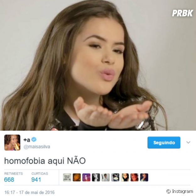 Tweet da Maisa Silva sobre homofobia