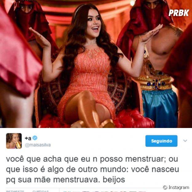 Tweet da Maisa Silva sobre menstruação
