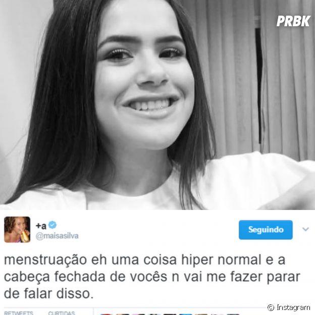"""Tweet da Maisa Silva sobre menstruação: """"É uma coisa hiper normal"""""""