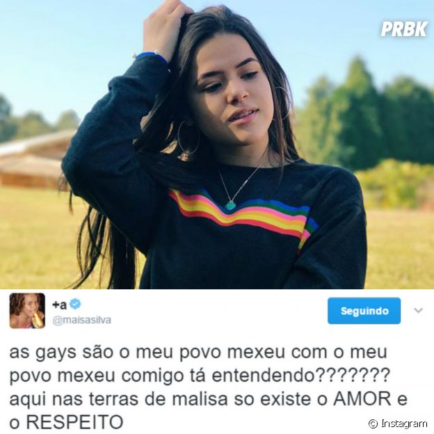 Tweet da Maisa Silve defendendo os gays