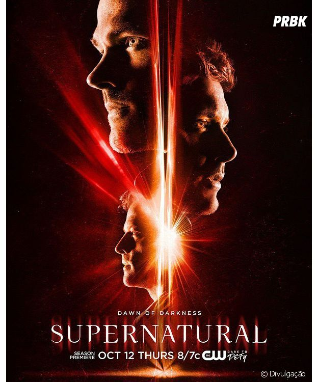 "De ""Supernatural"", Sam (Jared Padalecki), Dean (Jensen Ackles) e Castiel (Misha Collins) aparecem em pôster da 13ª temporada"