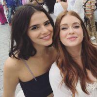 Bruna Marquezine e Marina Ruy Barbosa roubam a cena em gravação de vinheta da Globo