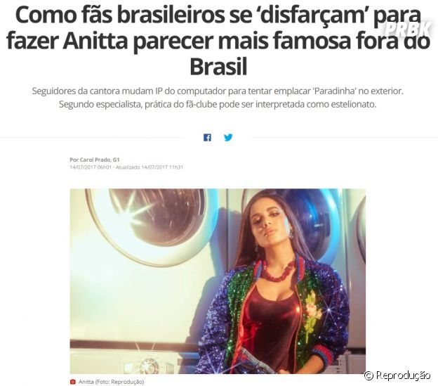 """Fãs da Anitta mudam IP do computador para tentar emplacar """"Paradinha"""" no exterior"""