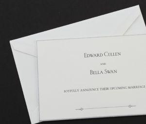 Convite de casamento Bella (Kristen Stewart) e Edward (Robert Pattinson) à venda no leilão!