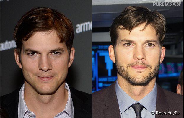 Ashton Kutcher com e sem barba