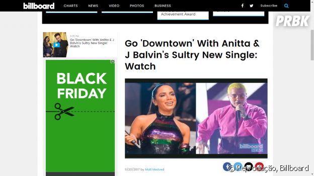 """Internacional: Anitta e J Balvin ganham notoriedade na gringa com """"Downtown"""""""