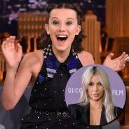 """Millie Bobby Brown, de """"Stranger Things"""", surta ao saber que Kim Kardashian está assistindo a série!"""