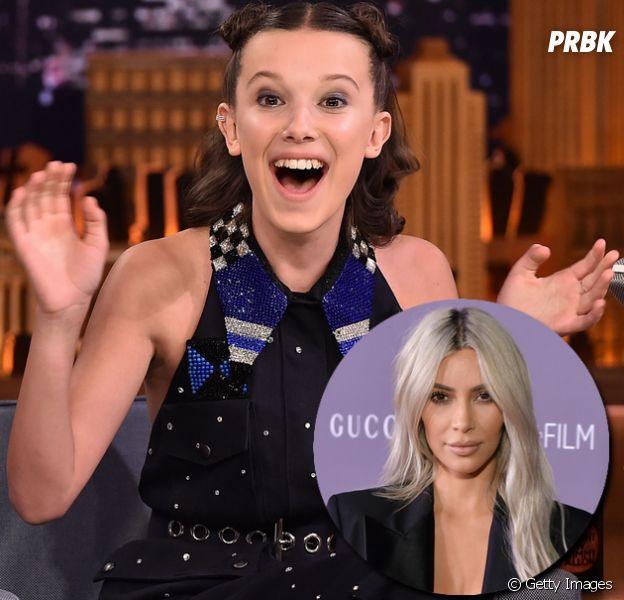 """Kim Kardashian está assistindo """"Stranger Things"""" e Millie Bobby Brown está surtando"""