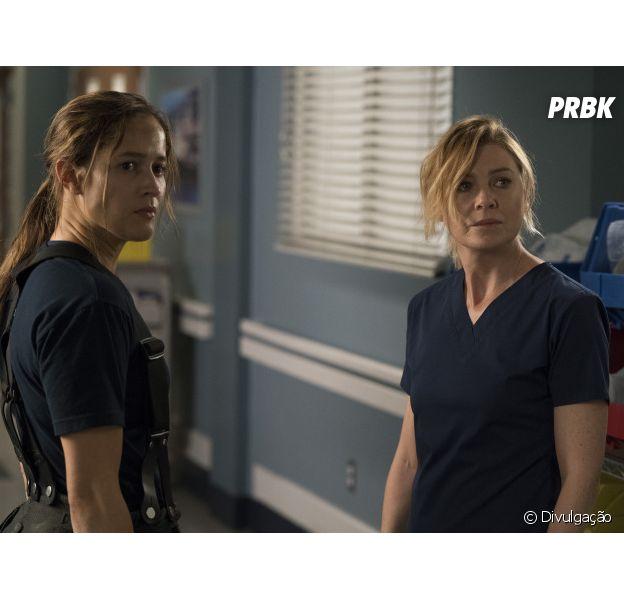 """De """"Grey's Anatomy"""": Meredith (Ellen Pompeo) aparece com o elenco do spin-off"""