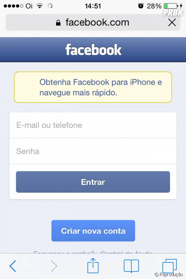 Acesse o site doFacebook e entre na sua conta pelo navegador