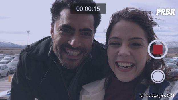 """Em """"Carinha de Anjo"""", Gustavo (Carlo Porto) e Cecília (Bia Arantes) viajaram para Bariloche"""