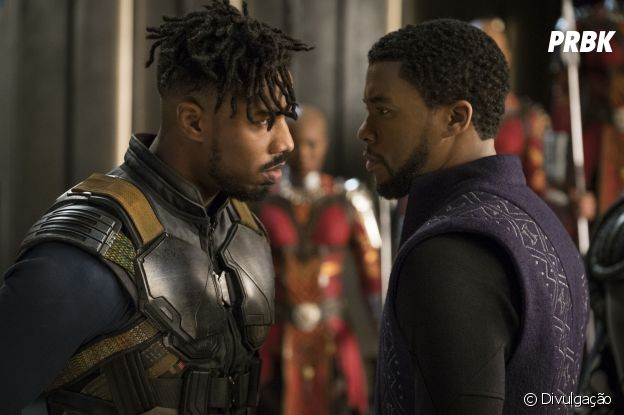 "Killmonger (Michael B. Jordan) e T'Challa (Chadwick Boseman) são extremos opostos em ""Pantera Negra"""